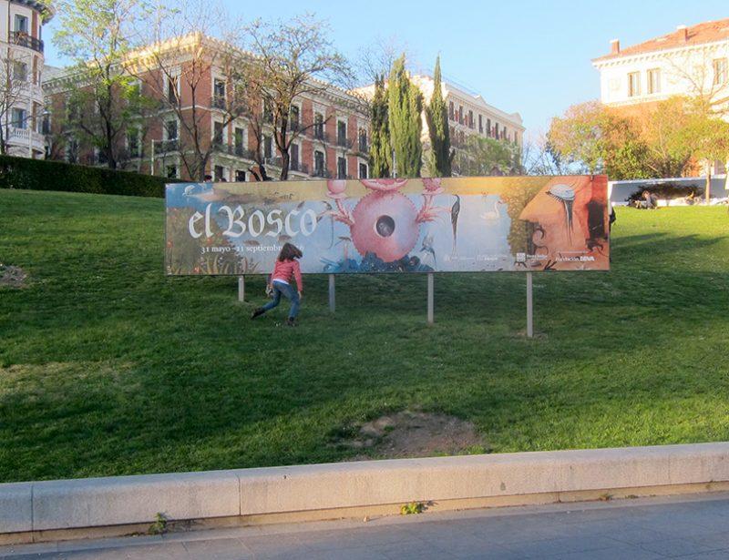 Sign announcing the up-coming Bosch retrospective: Museo del Prado, June 2016